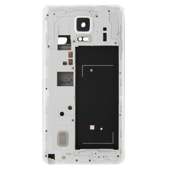 Full Housing Cover Replacement (Front Housing LCD Frame Bezel Plate + Middle Frame Bazel Back Plate Housing Camera Lens Panel Replacement) for Samsung Galaxy Note 4 / N910V (White)