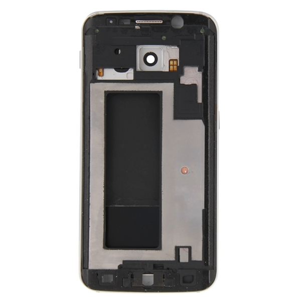 Full Housing Cover Replacement (Front Housing LCD Frame Bezel Plate + Back Plate Housing Camera Lens Panel + Battery Back Cover Replacement) for Samsung Galaxy S6 Edge / G925 (White)