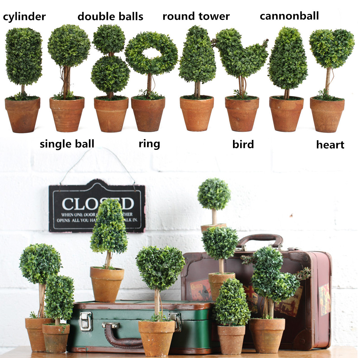 Artificial potted plant plastic garden grass ball topiary for Tree decorations for garden