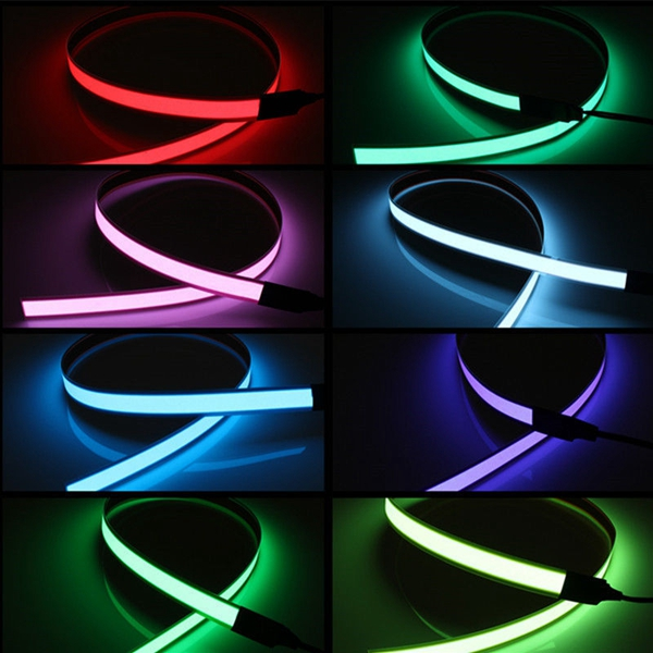 1m Electroluminescent Tape El Wire Glowing Led Rope Flat Strip Light With Aa Battery Box 3v Alexnld Com