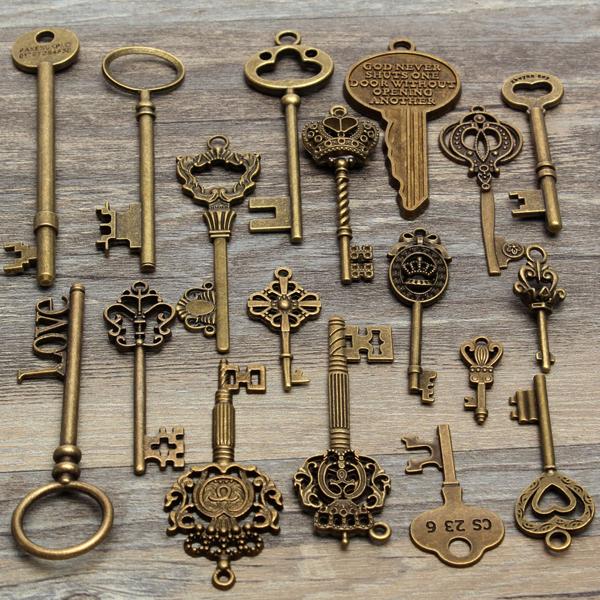 Old Tractor Keys : Pcs antique vintage old look skeleton key lot pendant