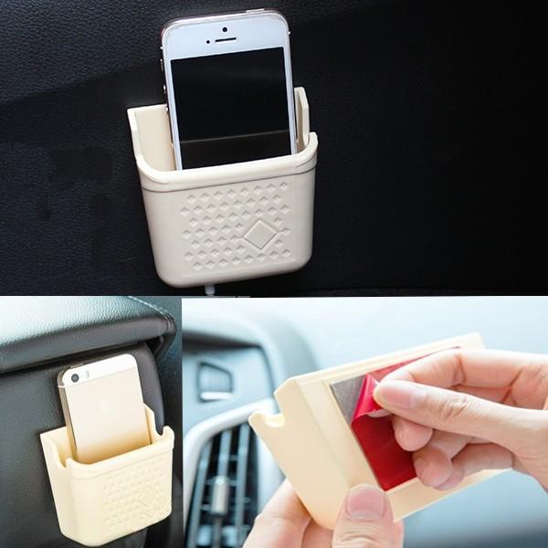 mini cream colored car phone storage box paste type car. Black Bedroom Furniture Sets. Home Design Ideas
