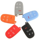 Silicone Car Key Case Cover Fob Shell 5 Button Remote for Jeep Chrysler Dodge Fiat
