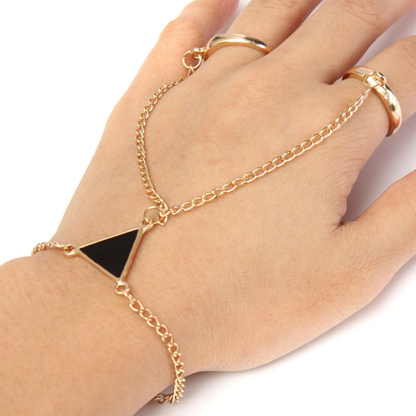 Gold Plated Chain Triangle Slave Ring Bracelet Double Finger Hand Harness