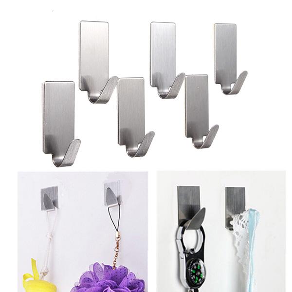 6Pcs Stainless Steel Adhesive Clothes Hanger Hook Wall Door Hook Bathroom Towel Holder