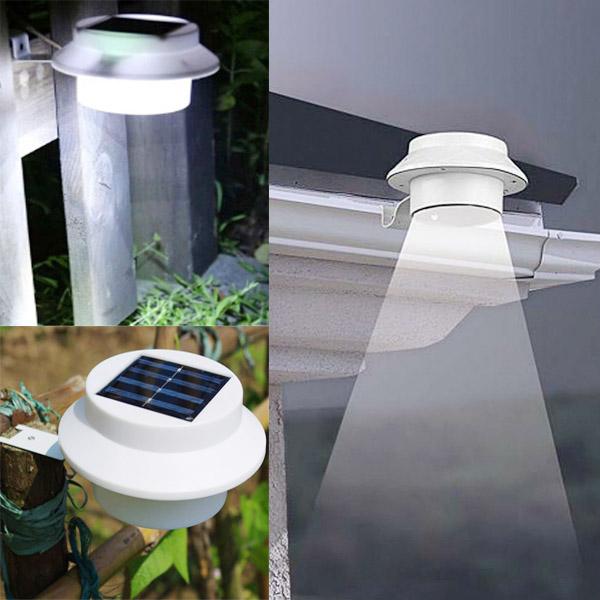 Landscape Lighting Gutter Mount: Garden 3 LED Solar Power Fence Gutter Light Super Bright