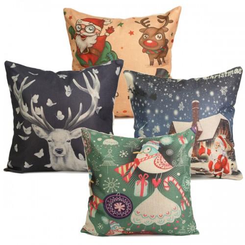 Cute Throw Pillow Covers : Cute Christmas Series Decorative Throw Pillow Case Square Sofa Office Cushion Cover Alex NLD