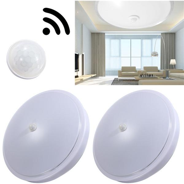 Led Ceiling Lights With Sensor: 12W PIR Infrared Motion Sensor Flush Mounted LED Ceiling
