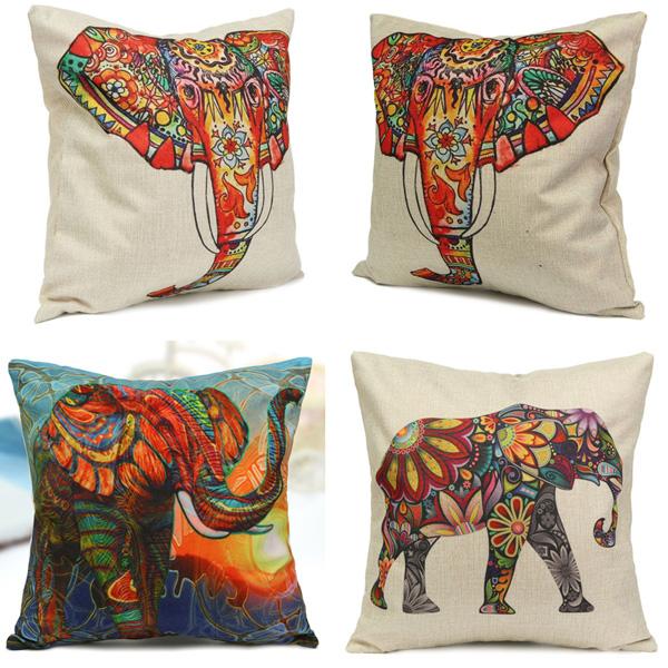 Elephant Throw Pillow Case : Vintage Elephant Cotton Throw Pillow Case Waist Cushion Cover Home Sofa Car Decor Alex NLD