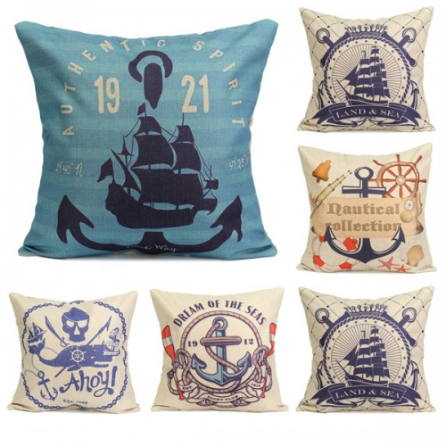 Nautical Throw Pillow Cases : Nautical Series Mediterranean Style Throw Pillow Case Square Home Sofa Cushion Cover Alex NLD