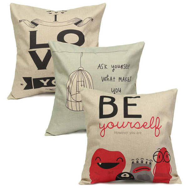 LOVE Live Letters Cotton Linen Throw Pillow Case Home Sofa Waist Cushion Cover