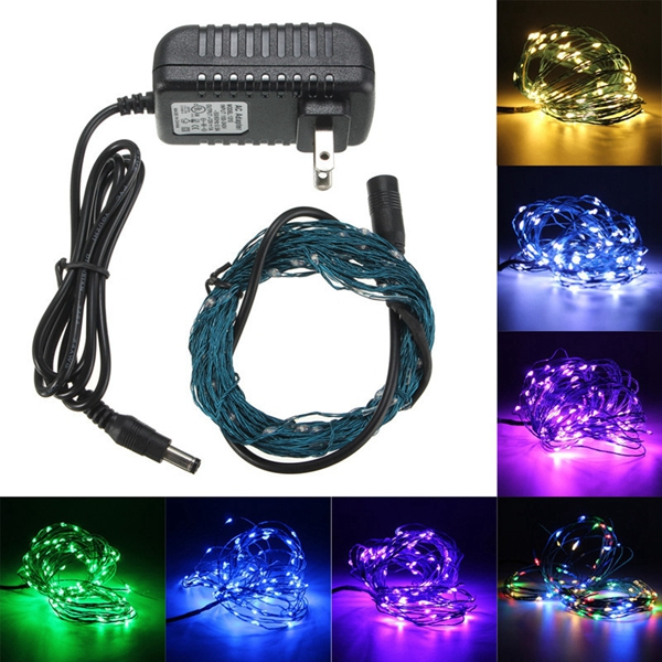 Led String Lights Dc : 10m 100LED 33Ft LED Light String Fairy Lamp for Xmas + US Power Adapter DC 12V Alex NLD