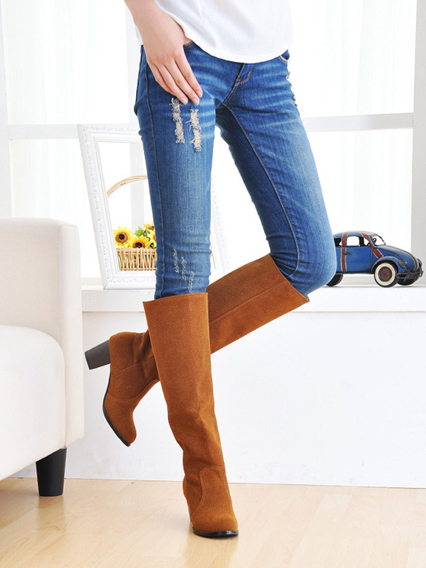 Large Size Women Boots Over The Knee Boots Low Heel Round Toe ...