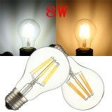 EE27 A60 8W Warm White/ White Filament LED COB Dimmable Globe Bulb Lamp AC220V/110V