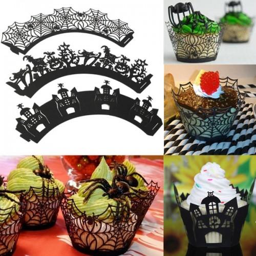 Halloween Cupcake Decorating Ideas Spider Web : 12Pcs Spider Web Witch Castle Halloween Cupcake Cake ...