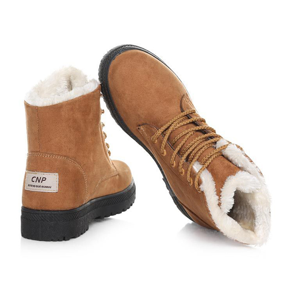 modern design nice cheap 100% quality New Women Winter Keep Warm Flat Lace Up Non-Slipper Plush Boots Snow Boots  Ankle Short Boots