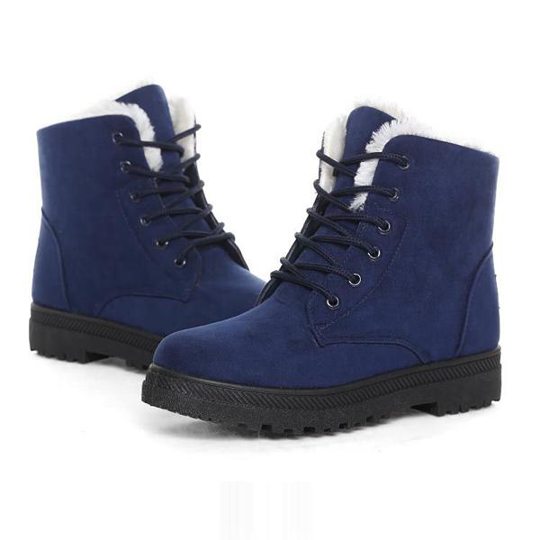 0dd47c84f6dd0 New Women Winter Keep Warm Flat Lace Up Non-Slipper Plush Boots Snow ...
