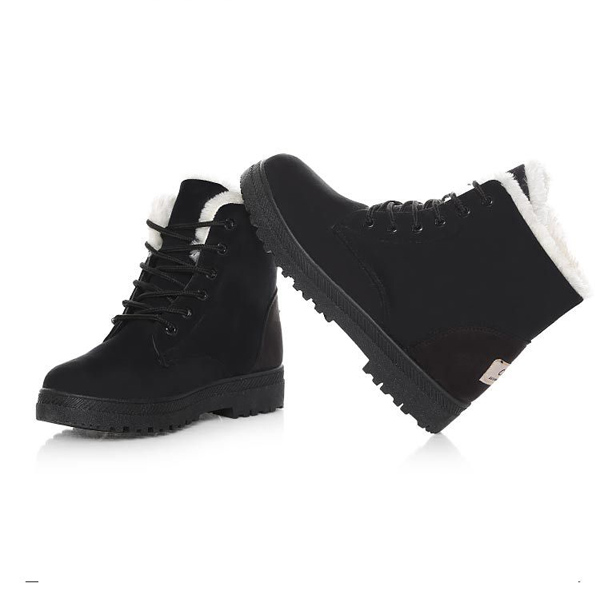 37420fc12c2 New Women Winter Keep Warm Flat Lace Up Non-Slipper Plush Boots Snow ...
