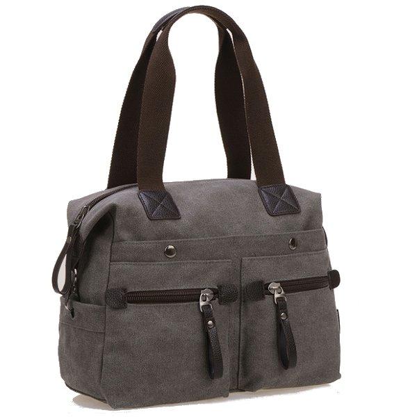 Women Men Canvas Multi Pocket Handbags Casual Pillow ...