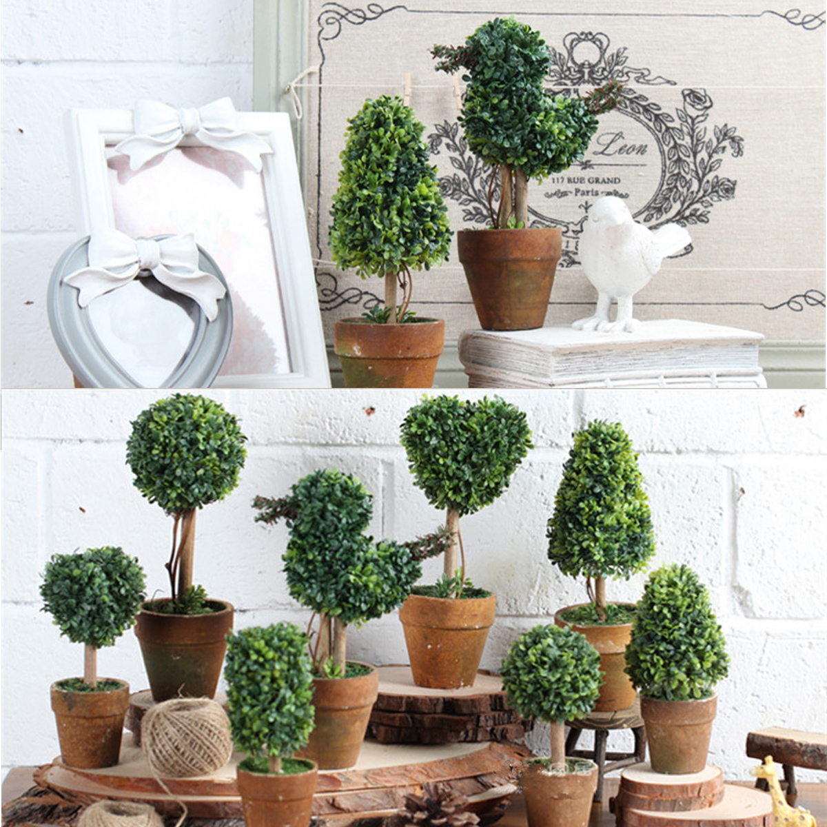 Artificial potted plant plastic garden grass ball topiary tree pot home desk decor alex nld - Garden decor stores ...