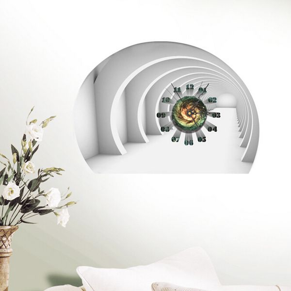 diy decal clock tunnel 3d wall stickers clock 3d art wall clock home
