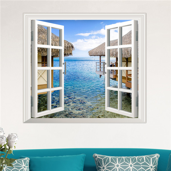 3D Artificial Window View 3D Wall Decals Sea View Room