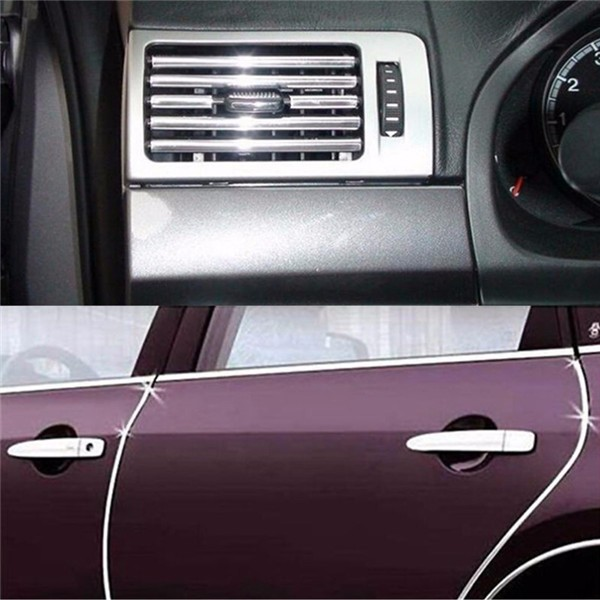 silver car interior decor door vent chrome moulding trim strip u style 4m. Black Bedroom Furniture Sets. Home Design Ideas