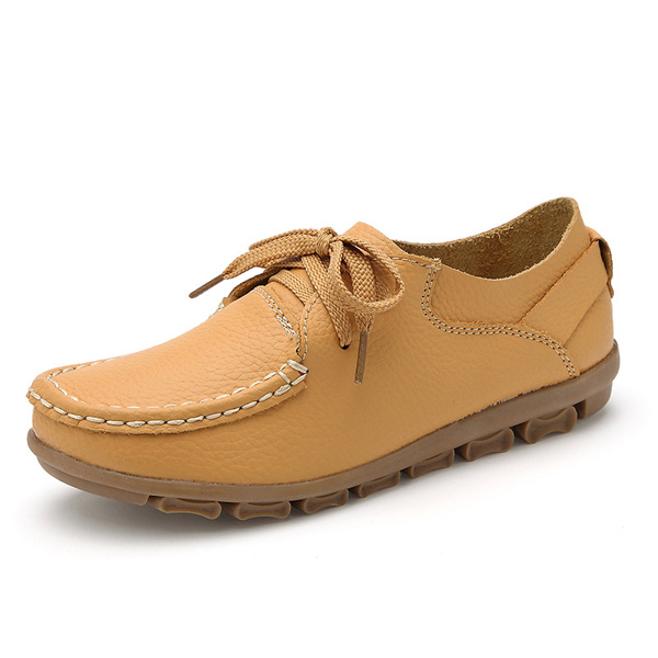 Women Autumn Flat Shoes Lace Up Soft Sole Flats Round Toe Anti-slip Loafers