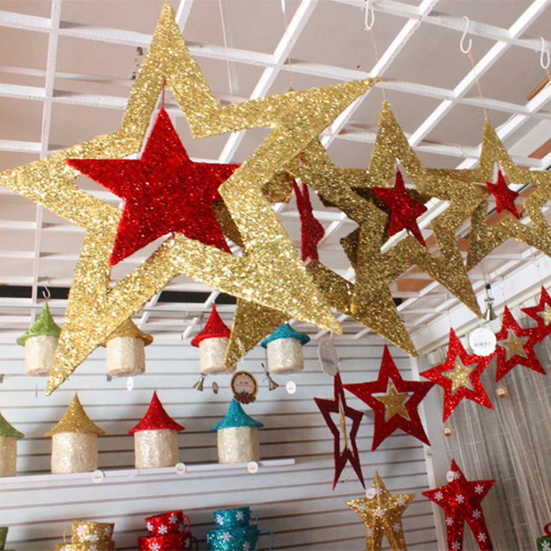 Christmas ornaments shiny star xmas tree ceiling wall for Hanging christmas decorations