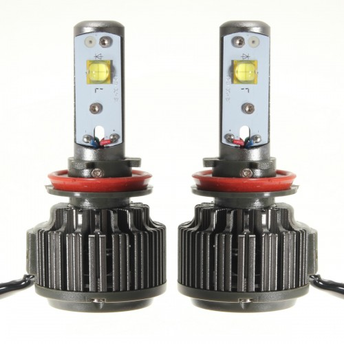 Pair 60W Turbo LED Headlight Lamp H11 H9 H8 7200LM 6000K with Wire