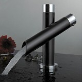 Kitchen Unique Single Handle Black Bathroom Bath Basin Sink Mixer Tap Waterfall Faucet