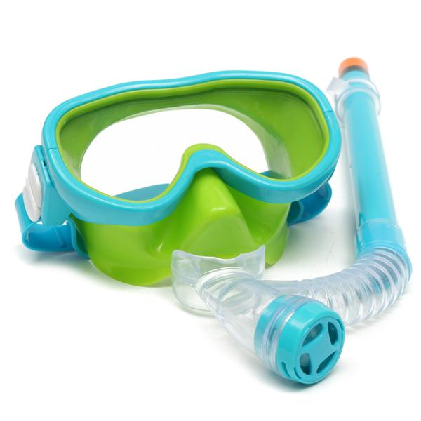 Children Swimming Diving Snorkel Scuba Dry Wave Goggles Plastic Breathing Tube Suit Anti Fog Glasses Mask