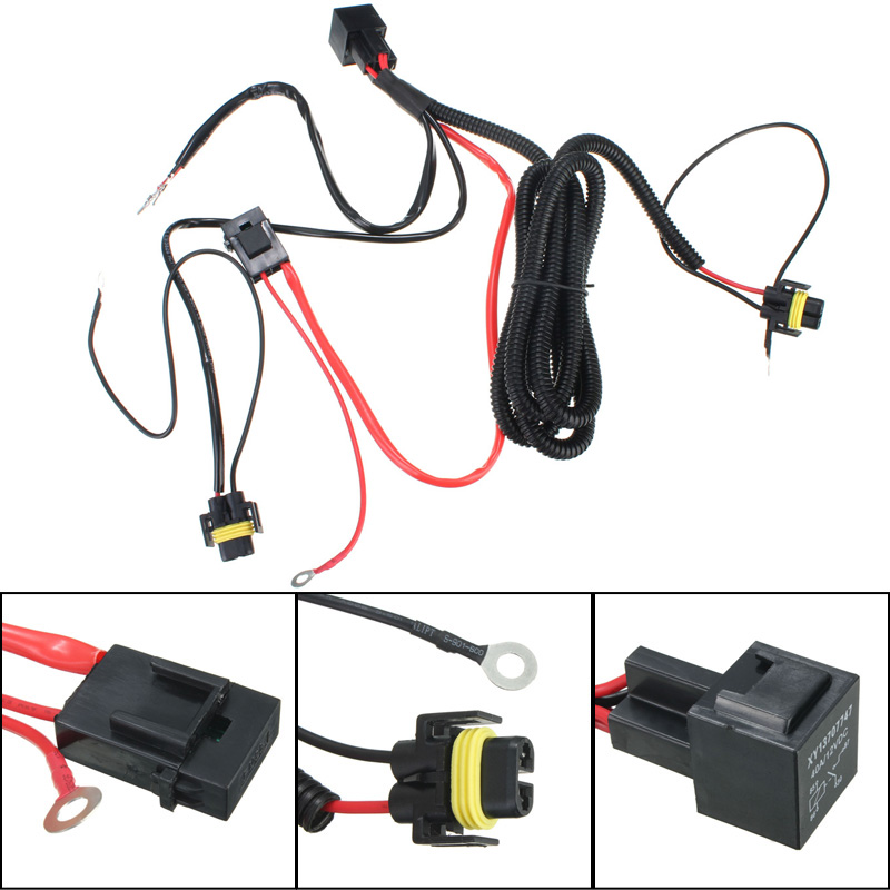 H11 880 Relay Wiring Harness For HID Conversion Kit Add-On Fog Lights H Wire Harness on