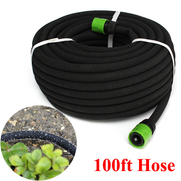 100ft garden lawn porous soaker hose watering water pipe drip
