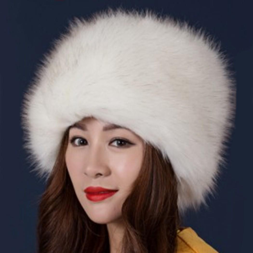 women ladies fluffy faux fox fur russian cossack style