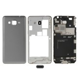 Full Housing Cover Replacement (Front Housing LCD Frame Bezel Plate + Middle Frame Bazel + Battery Back Cover) + Home Button Replacement for Samsung Galaxy Grand Prime / G530 (Grey)