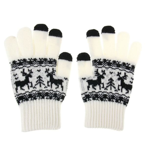 Woven Double Deer Pattern Three Finger Touch Screen Touch Gloves for iPhone 5 & 5S & 5C, iPhone 4 & 4S / iPad / iPod Touch, BlackBerry, HTC and Other Touch Screen Device (White)