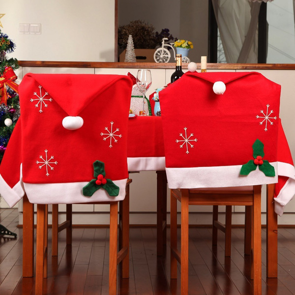 Christmas Snowflake Red Hat Chair Cover Kitchen Dinner