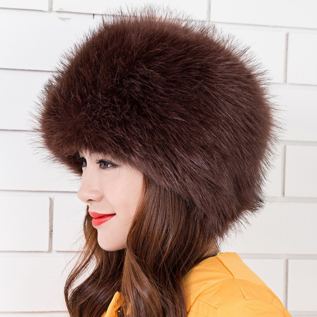 2033a3aff Women Ladies Fluffy Faux Fox Fur Russian Cossack Style Winter Hat Warm Cap