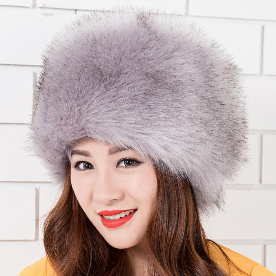 Women Ladies Fluffy Faux Fox Fur Russian Cossack Style ...