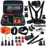 PULUZ 28 in 1 Accessories Combo Kit with EVA Case  (Chest Strap + Head Strap + Wrist Strap + Floating Cover + Surface Mounts + Backpack Rec-mount + J-Hook Buckles + Extendable Monopod + Tripod Adapter + Quick Release Buckles + Storage Bag + Wrench) for GoPro HERO4 Session
