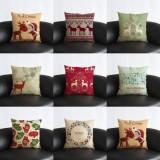 Vintage Christmas Series Deer Throw Pillow Case Linen Cotton Square Sofa Cushion Cover