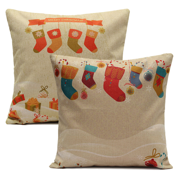 Small Throw Pillow Cases : Christmas Socks Throw Pillow Cases Home Sofa Square Cushion Cover Alex NLD