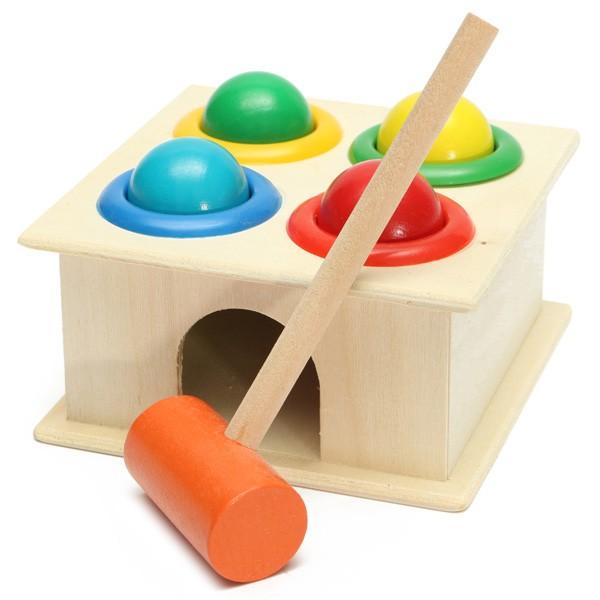 Baby Kids Children Wooden Knock Hammering Ball Early ...