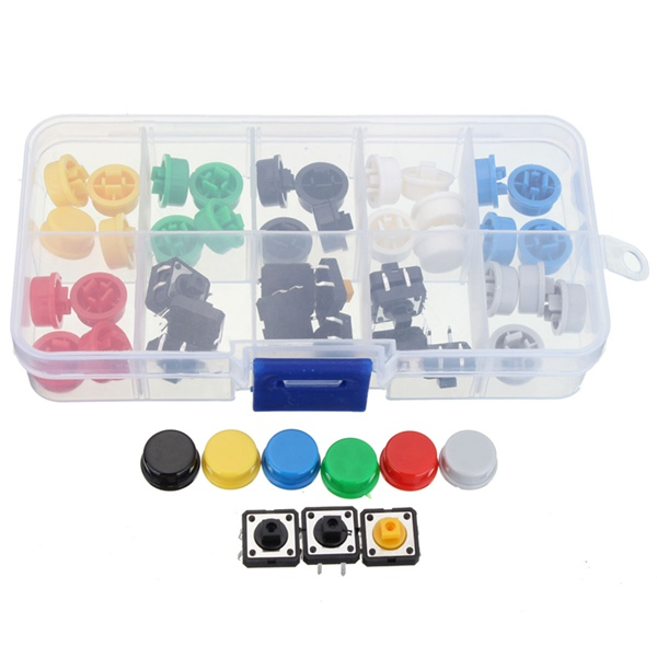 50Pcs Tactile Push Button Switch Momentary Tact & Cap Assorted Kit 12x12x7.3mm KeyCaps