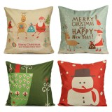 Cartoon Christmas Throw Pillow Case Linen Cotton Cushion Cover Home Sofa Car Decor