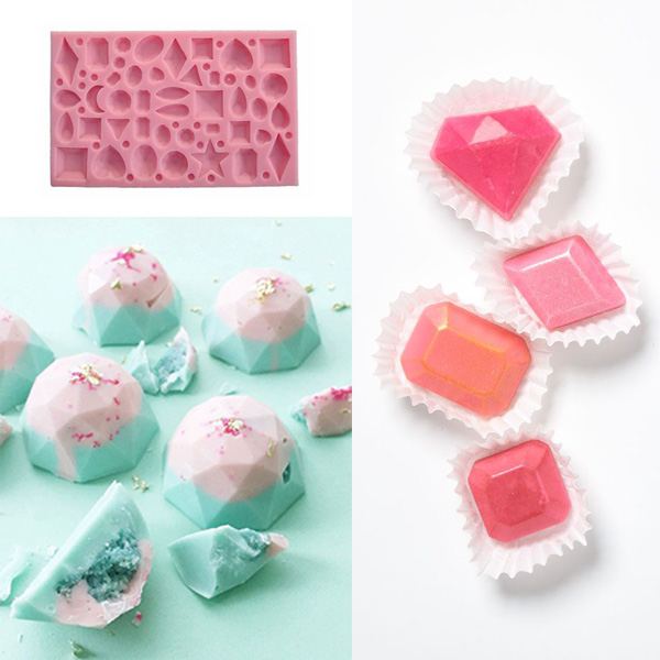 How To Decorate Cake At Home With Gems : Mini Gem Diamond Shape Fondant Mold Silicone Cake Candy ...
