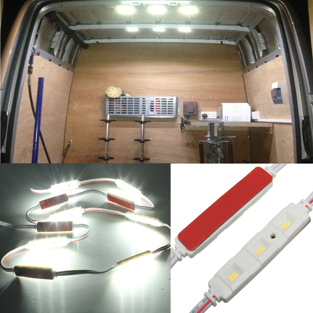 3 led car interior light for lwb van lorries sprinter ducato transit 12v diy alex nld. Black Bedroom Furniture Sets. Home Design Ideas
