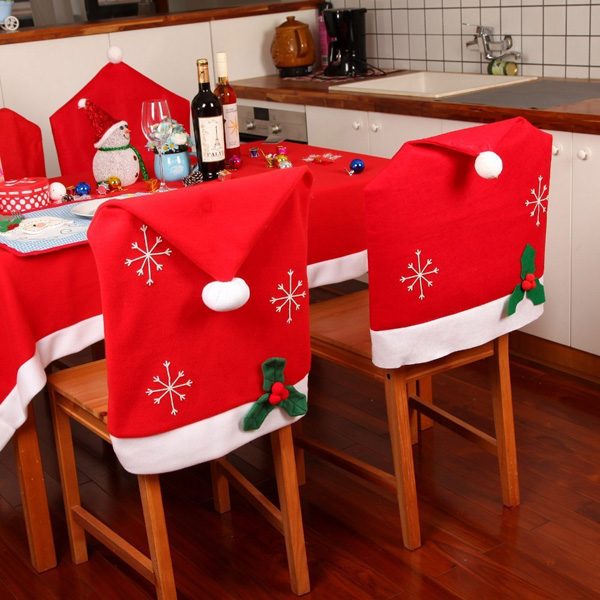 Christmas Snowflake Red Hat Chair Cover Kitchen Dinner ...