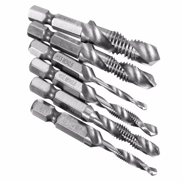 Basic Cellphone Cases CZMY 6 Pcs//Set High Standard HSS 1//4 Inch Hex Shank Combination Drill Tap Bit Set Metric Deburr Countersink Bits Drill Bits